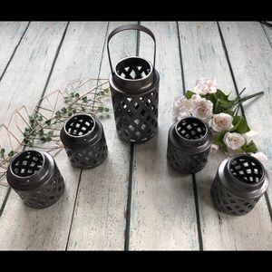 Set of 5 Lanterns patio decor charcoal gray metal